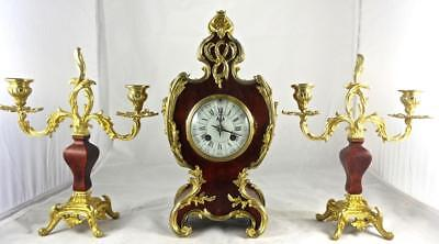 Antique 19th c French S.Marti Gilt ormolu Bronze & Shell Boulle Mantel Clock Set