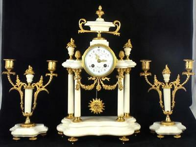 Antique 19th c French A.D.Mougin Gt Bronze White Marble Portico Mantel Clock Set