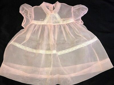 Vintage BABY DEBS Sheer PINK Hand Embroidered BABY DRESS Lace Trim