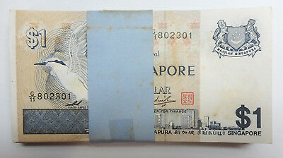 100 pieces 1 stack bundle Singapore $1 one Dollar Bird banknotes 1976, UNC