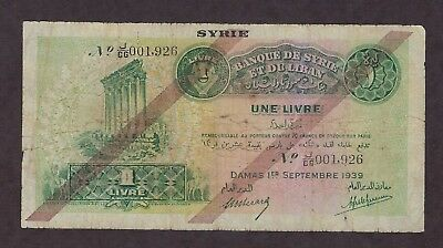 Syria 1939 1 Livre Used Condition Paper Money - 001926