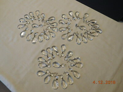 """48 Vintage 1 ½"""" Teardrop Beads Crystal Glass Chandelier Lamp Replacement Prisms"""