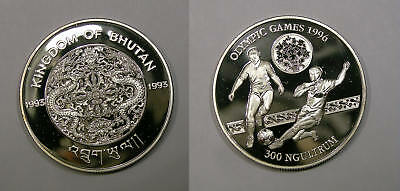 1993 BHUTAN 300 Ng ONE OUNCE SILVER SOCCER PROOF VERY TOUGH! INV#329-97