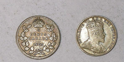1909 Canada Sterling Silver 5 Cents Sound Vf Tough Edward Coin Inv#329-30