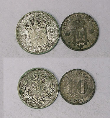 1907 14 Sweden Silver 10, 25 Ore Lot 2 Coins Inv#329-24