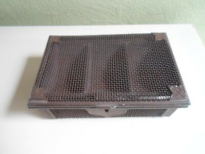 Quirky Rare Antique Metal Wirework Coin Tin  Cash Box With Lift out Coin Section