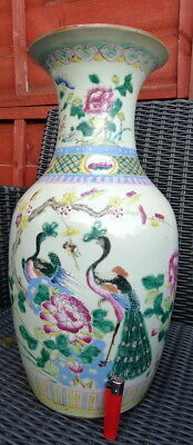 Antique Chinese  Famille Rose LARGE vase with phoenixes, 19th