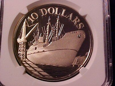 Singapore $10 Dollars Silver Proof Crown 1976 Pf-69 Ucam Ngc Independence Ship