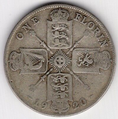 1920 Great Britain One 1 Florin George V Silver World Coin Nice