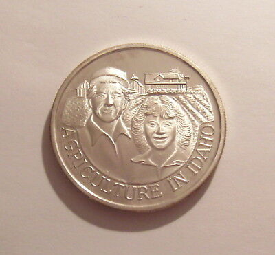 1990 Celebrate Idaho AGRICULTURE Commemorative 1 Oz .999 Silver Proof Round