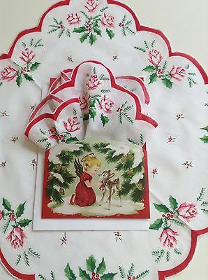 Darling New Christmas Angel Hankie Mailable Gift Folio