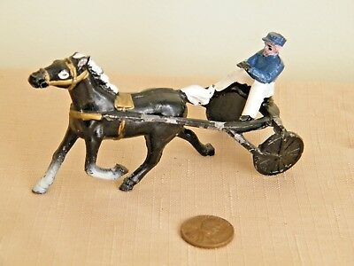 Vintage Hand Painted Cast Soft Metal Race Horse, Sulky, & Driver Made in Japan