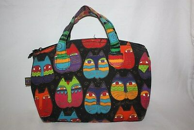 Laurel Burch Purse Tote Unlined Canvas Kitty Cat Bright Colors