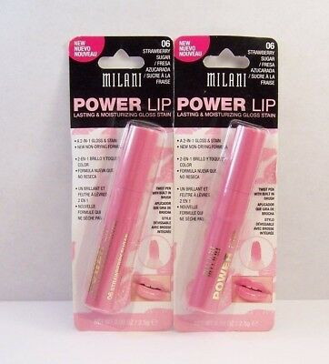 Lot of 2 Milani Power Lip Gloss Stain in 06 STRAWBERRY SUGAR
