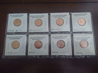 Lot of 8 Uncirculated Lincoln Pennies