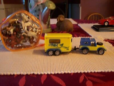 Breyer Mini Horses and Jeep with Horse trailer Set Used