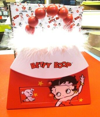 Nib Betty Boop Wooden Trinket Box Purse Jewelry Red White Dog Hinged Mirror