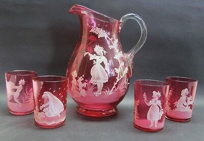 Late 19th C. Bohemian Mary Gregory Cranberry Art Glass Pitcher & Cups  c. 1890