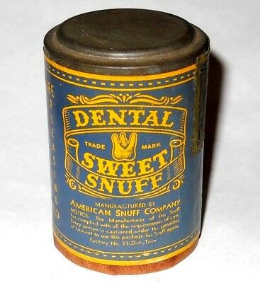Vintage/Antique 1900`s Dental Sweet Snuff Can, Full