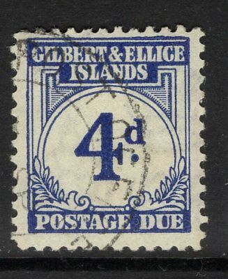 GILBERT & ELLICE IS. SGD4 1940 4d BLUE POSTAGE DUE FINE USED