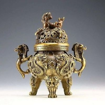 Chinese collection of ancient Old bronze decoration dragon tiger incense burner