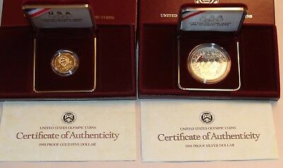 1988 United States Olympic $5.Dol Gold & Silver $1 Dollar Proof Coins