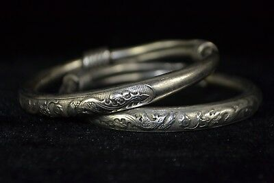 handwork Collectible Old Tibet Silver weave case Dragon phoenix Bracelet chinese