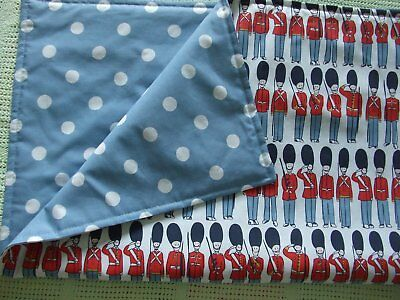Handmade Baby Quilt / Buggy Blanket - Cath Kidston - Guards / Blue spot fabric
