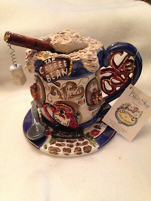 "Heather Goldminc Blue Sky Clayworks ""Coffee Bean"" Tea Light 2002 New w/tags"
