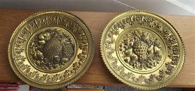 Vintage Pair Brass Plates Embossed Fruits England