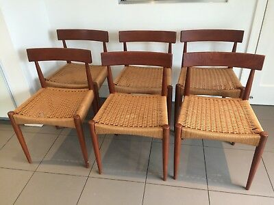 Danish Teak Mid-Century Woven Cord Dining Chairs, Set of 6
