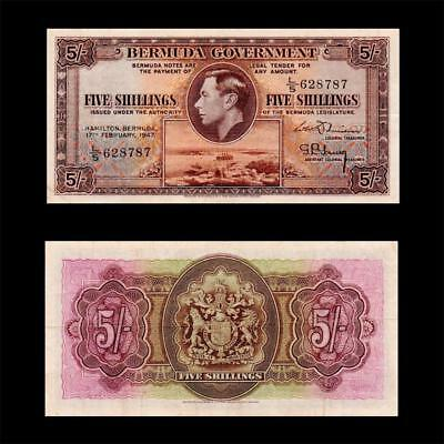 1947 British Colony Bermuda (Kgvi), 5 Shillings » Cv $400 « ~Rare Year Issue~