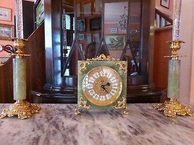 Vintage Green Onyx Gilt IMHOF 8 Day Mantel Clock 15 JEWELS SWISS Candle Holders
