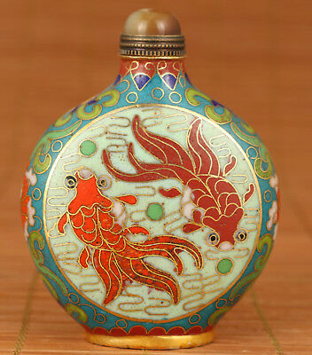 Rare Antique  Chinese Copper Cloisonne Hand Painting Fish Statue Snuff bottle