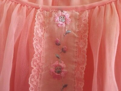 Vintage Coral Pink Babydoll Double Layer Nightie Nightdress 60s Size 14/16