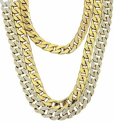 """Chunky 3pc Set 24"""" 30"""" Cuban Link Chains Icy 14k Gold Plated Hip Hop Necklaces"""