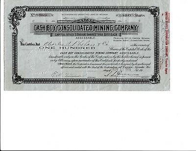 Cash Boy Consolidated Mining Stock Certificate 1915 Nevada