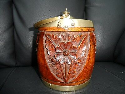 Vintage Old Oak  wooden biscuit barrel antique decorative carved wood