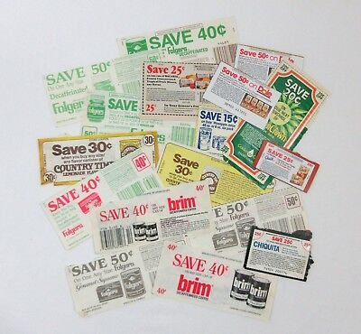 Vintage 70s 80s Lot of 17 Grocery Store Coupons No Expiration Date Coffee Juice