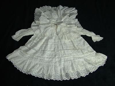 Antique / Vintage Lace Double Collar Christening Gown Dress From Old Estate Sale