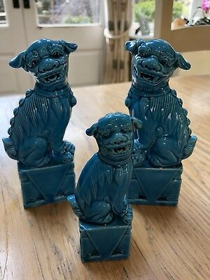 Vintage turquoise pair of chinese dogs of foo guardian lion  Plus A Smaller One