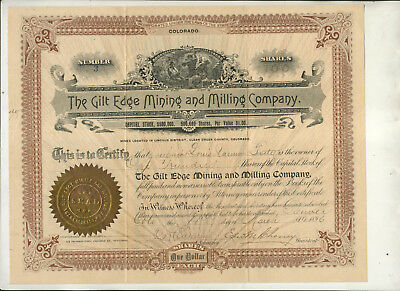 1896 Gilt Edge Mining & Milling Company Colorado Stock Certificate