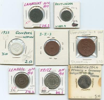 Wwi Eight (8) Germany Notgeld Coins & Porcelain Coins - Great Lot!