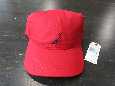 NEW Nautica Competition Strap Back Hat Cap Red Sailing Yacht Logo Flags Mens 5f5a46554132