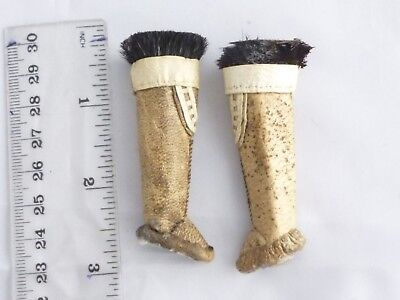 Old tiny pair (doll) boots hand made leather &  fur North American Inuit ?