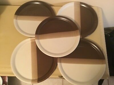 Set of 5 McCoy SANDSTONE Dinner Plates - Good Used Condition