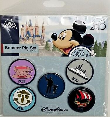 Disney Parks 2018 WDW Booster Pin Set Magic Kingdom Walt Space Mountain -Retired