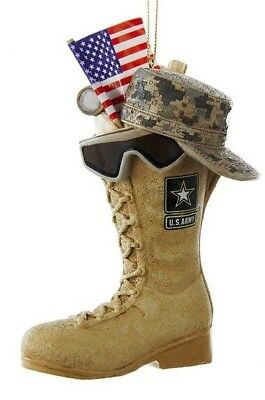 US Army Boot with USA Flag ACU Cap and Sunglasses Christmas Ornament AM2163 New
