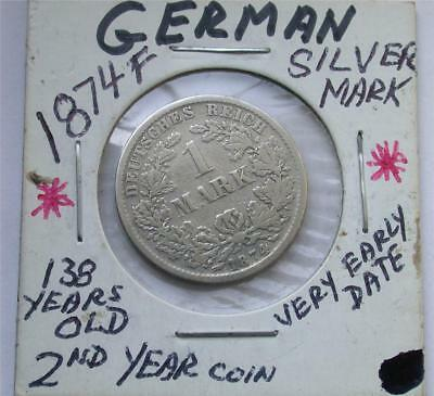 1874 F One 1 MARK German Empire Imperial Eagle Silver Coin