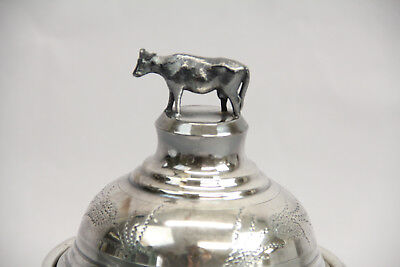 Antique Cow Bull Dome Top Butter Dish Silver Plate Figural Etched Design Decor